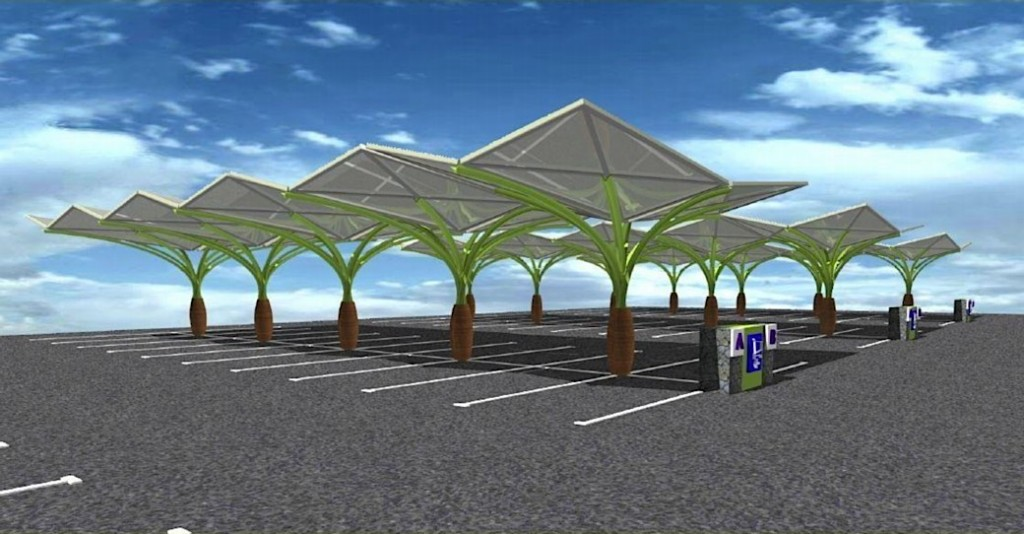 diamond roof parking lot pv system, inspired by tropical palm groves.