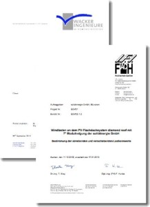 "Certificates according to ""Eurocode 1 - Actions on Structures"" have been issued for both roof mounted and ground mounted diamond roof structures."