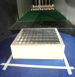 One of the models used in the boundary layer wind tunnel for testing